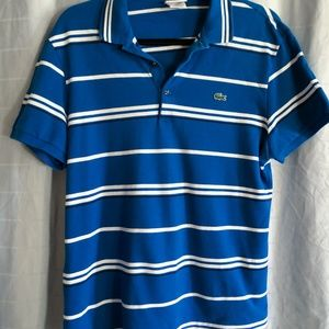LACOSTE Blue White Stripe Short Sleeve Polo